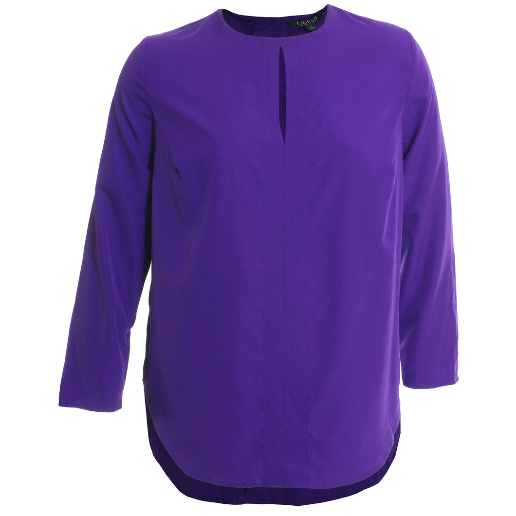 Ralph Lauren Purple Long Sleeve Keyhole Seamed High-Low Hem Blouse