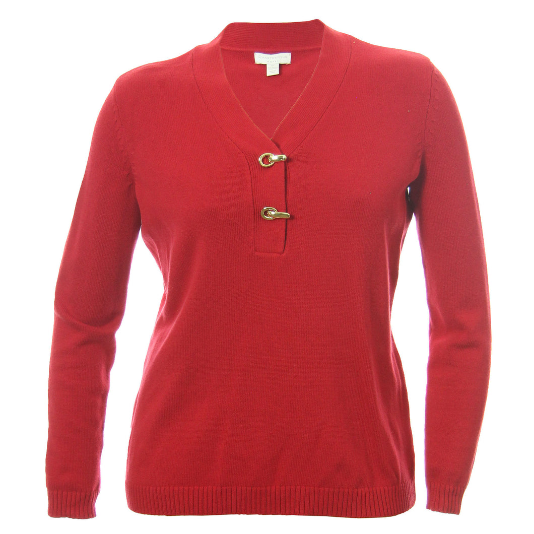 Charter Club Long Sleeve Goldtone Hardware Pull Over Henley Sweater