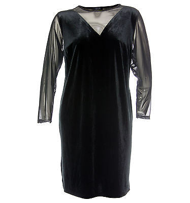 Spense Black Long Sleeve Illusion Dress