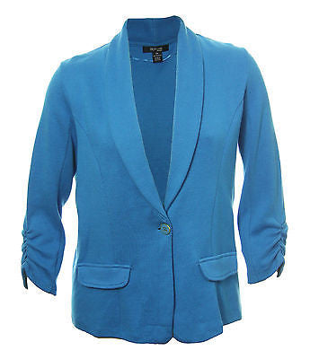 Style & Co Blue Long Ruched Sleeve 1 Button Knit Jacket