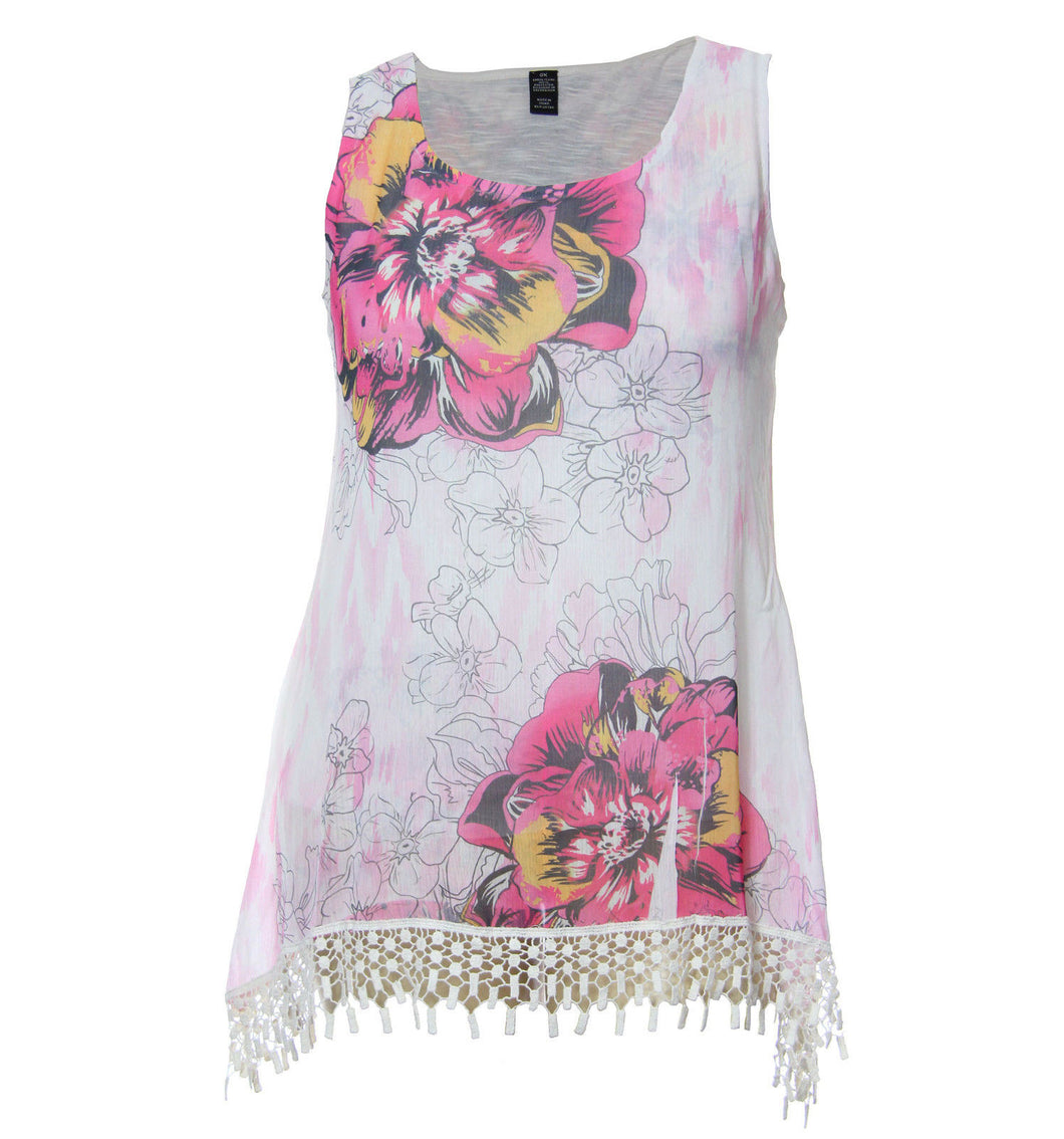 Style & Co Multi Color Floral Sleeveless Crochet Hem Blouse & Camisole