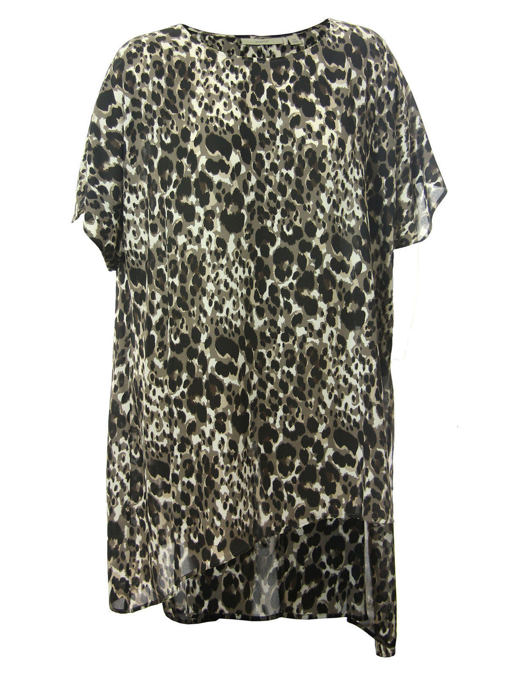Sejour Multi Color Animal Print Short Sleeve Asymmetric Hem Blouse