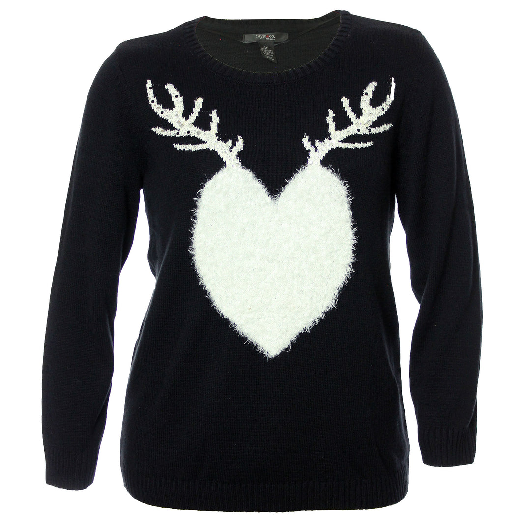 Style & Co Black Long Sleeve w/ White Embellished Fluffy Reindeer Sweater