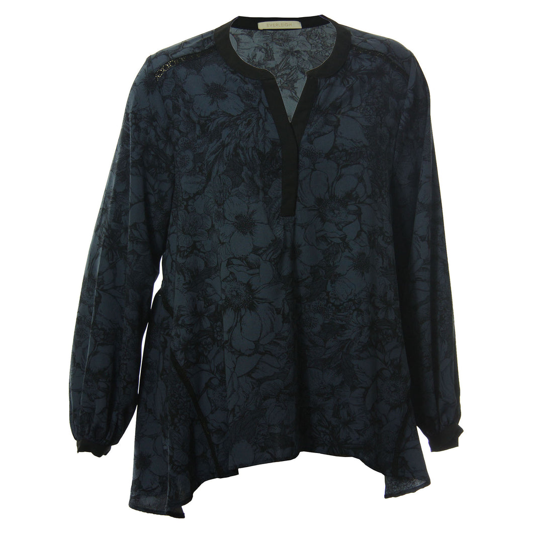 Everleigh Blue & Black Print Long Sleeve Lace Inset Blouse