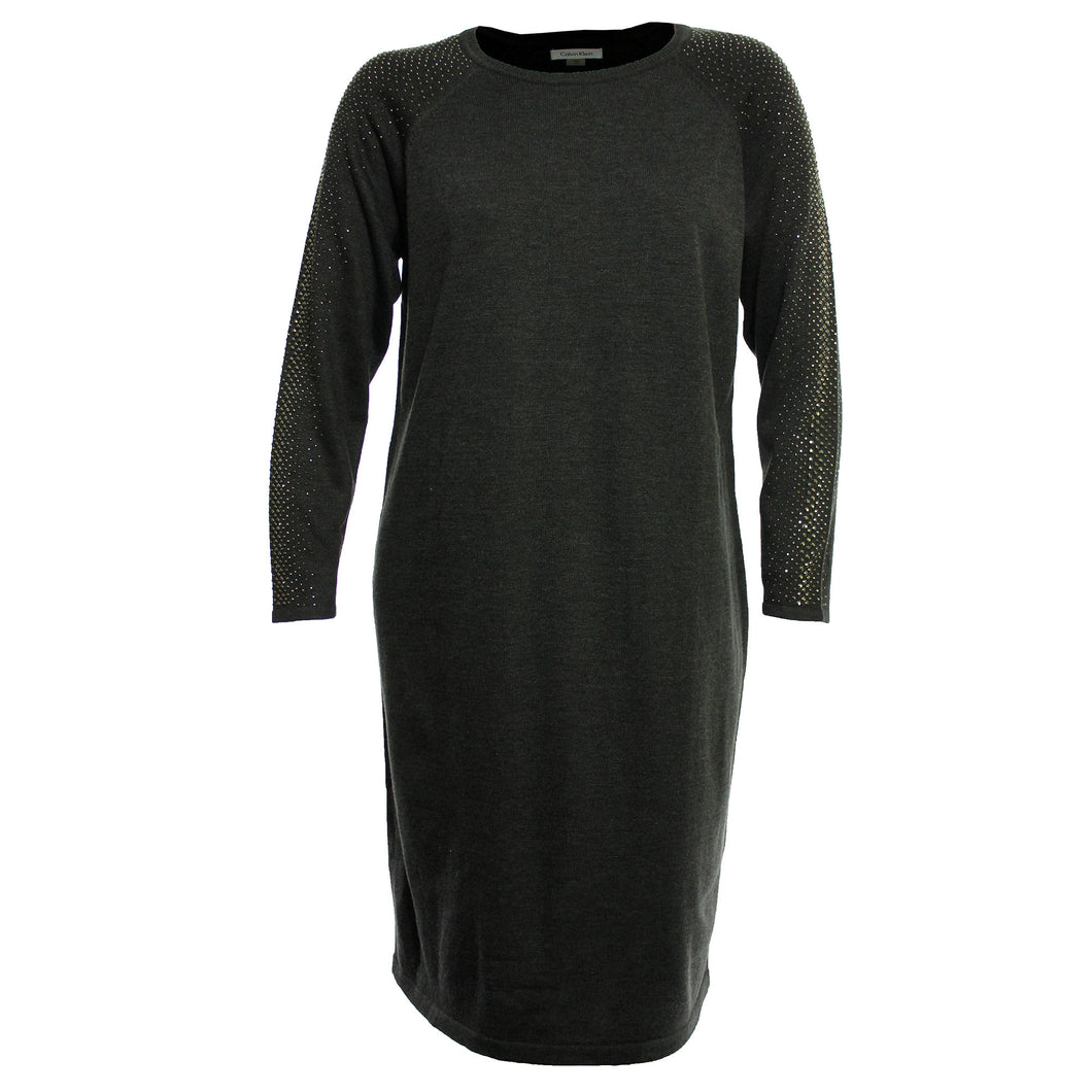 Calvin Klein Gray Long Studded Sleeve Sweater Dress