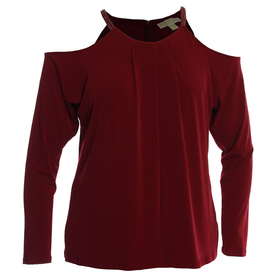 Michael Kors Dark Red Long Sleeve Embellished Cold Shoulder Knit Top