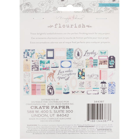 Crate Paper - Maggie Holmes - Flourish Ephemera Cardstock Die-Cuts 40 pk Accents with Rose Gold Foil