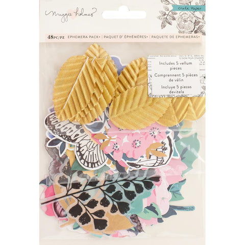 Crate Paper - Maggie Holmes - Flourish Ephemera Cardstock Die-Cuts 50 pk Accents with Gold Glitter