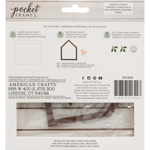American Crafts - Pocket Frames Insert Kit 6X5.5 6 per pack - House Heart with Insert