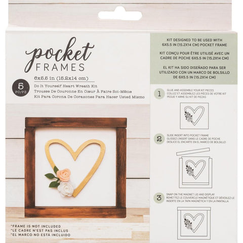 American Crafts Pocket Frames Insert Kit 6 inch X5.5 inch 5 pack Heart Wreath with Insert
