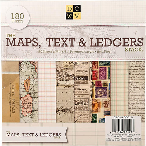 DCWV S/S Paper Stack 8x8 180 pack - Maps, Text & Ledgers