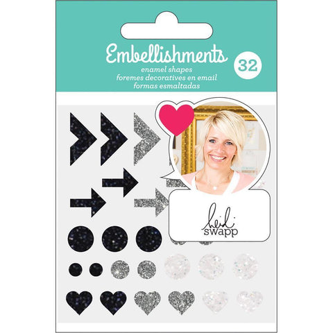 Heidi Swapp - Adhesive Enamel Shapes - Black, Silver & White with Glitter Accents 32 pack