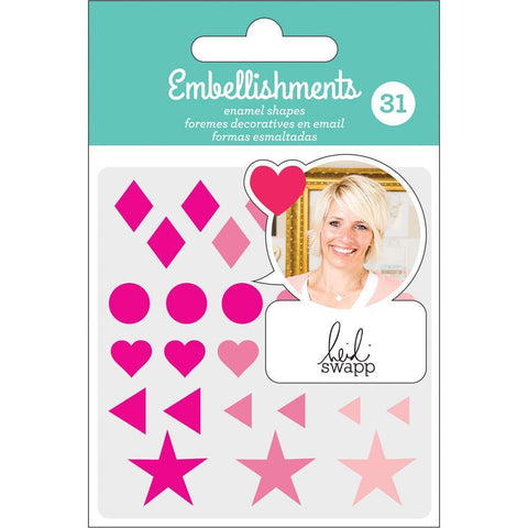 Heidi Swapp - Adhesive Enamel Shapes - Pink with Glitter Accents 31 pack