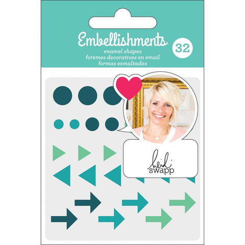 Heidi Swapp - Adhesive Enamel Accents - Teal with Glitter Accents 32 pack