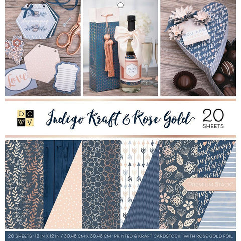 DCWV 12x12 inch Paper Stack D/S - Indigo Kraft & Rose Gold, 12 with Foil 20pk