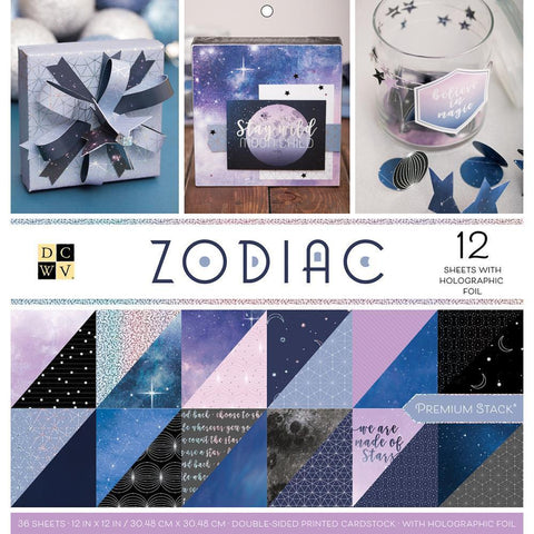 DCWV Paper Stack Double-Sided 12 inch X12 inch 36 pack Zodiac, 12 with Holographic Foil