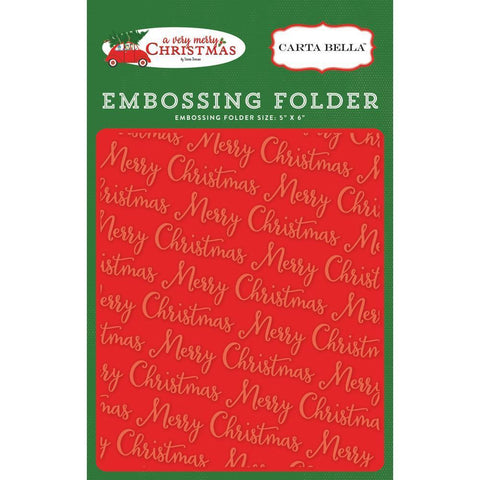 Carta Bella Embossing Folder - Merry Christmas 5x5.875 inch