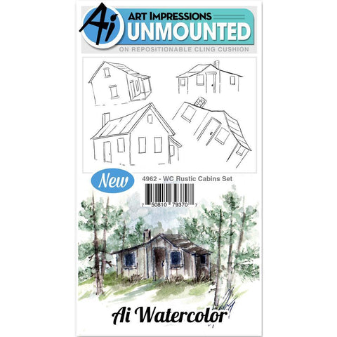 Art Impressions Watercolor Cling Rubber Stamps 4x7 inch - Rustic Cabins
