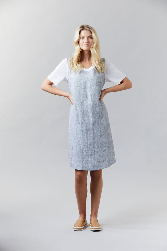 Visage Pixel Linen & Knit Dress - White Mix