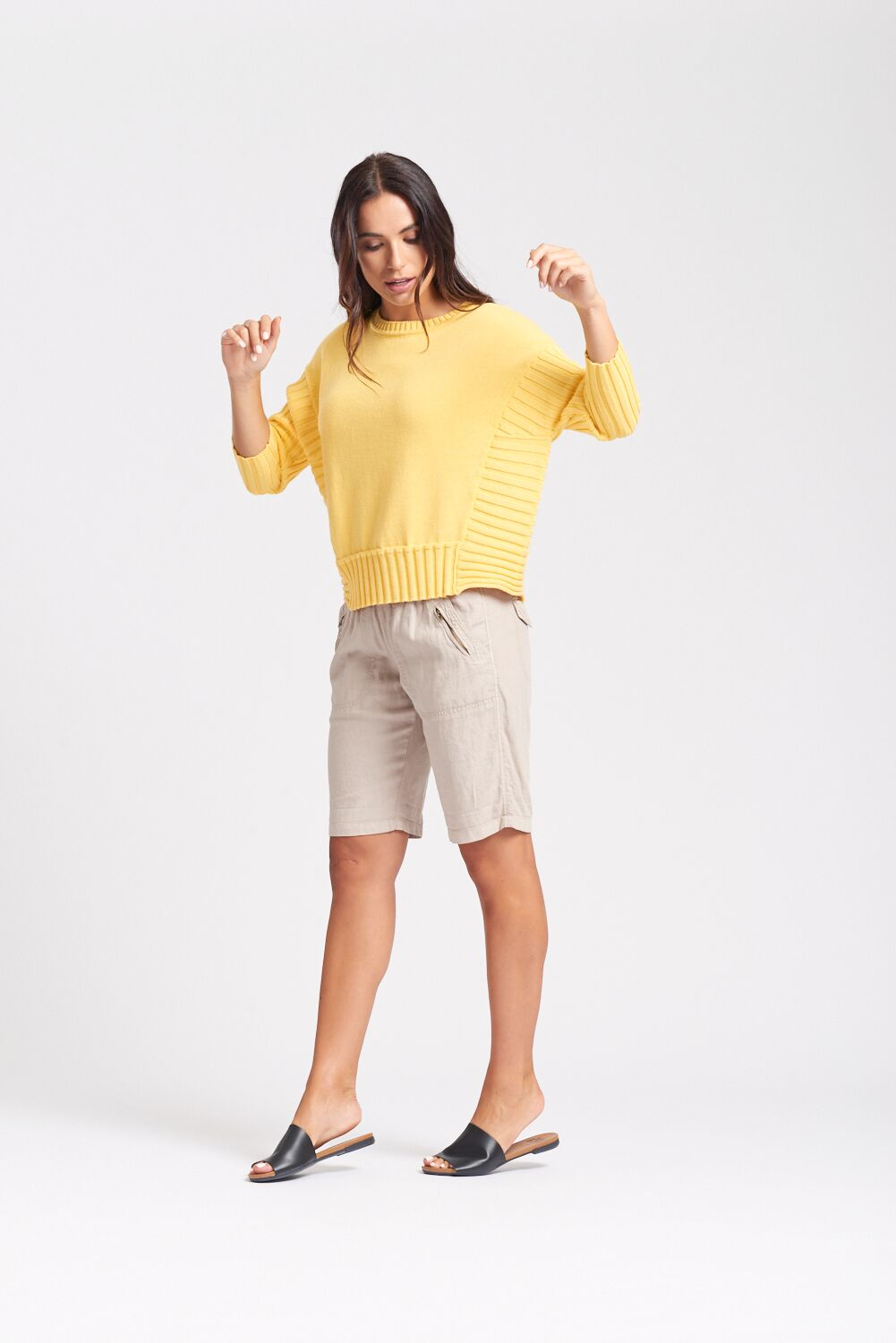 Optimum 3/4 Ribbed Sleeve Sweater