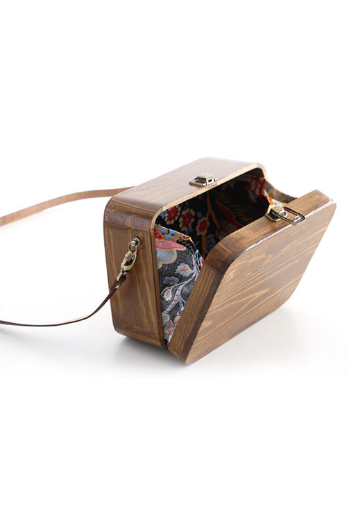 Rectangle Wooden Shoulder Bag
