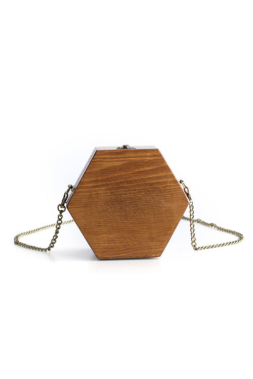 Hexagon Wooden Shoulder Bag