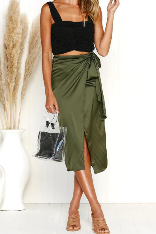 Need It Now Tie Midi Skirt