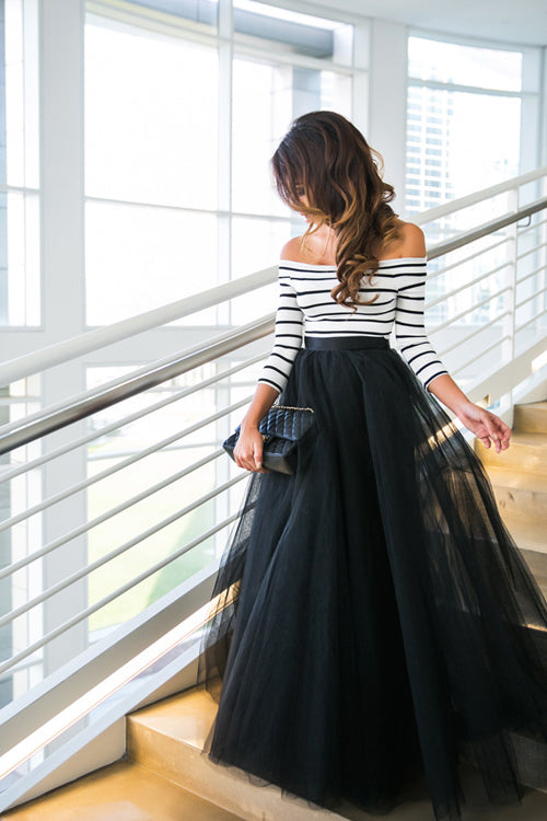 Stripe Blouse & Flare Tulle Wedding Skirt