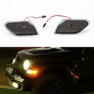 LED side marker lights for Jeep Wrangler JL & Unlimited 2018 2019 Smoked Pair Fender Indicators