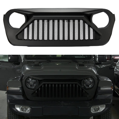 Jeep Wrangler JL & Unlimited Front Mesh Grille Matte Black for 2018 2019 Sport Sahara Rubicon