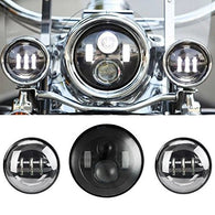 "7"" Black Motorcycle Daymaker LED Headlight + 2pcs 4.5"" Fog Lights - Sunpie"