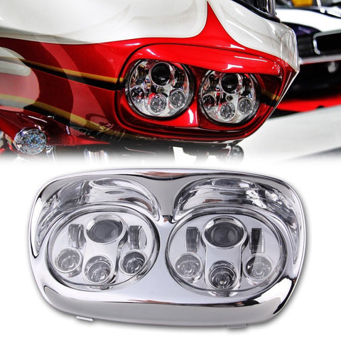 "Sunpie 5.75"" Chrome/Black Motorcycle Projector Day Maker Dual LED Headlight - Sunpie"