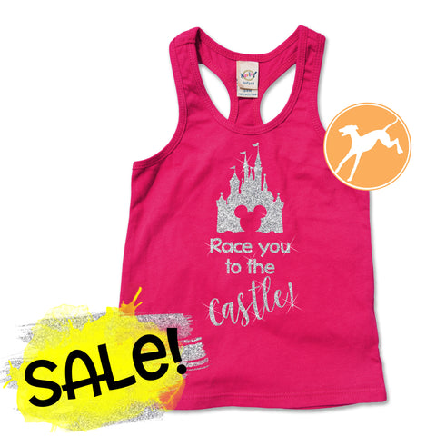 Sale Disney race you to the castle pink kids tank