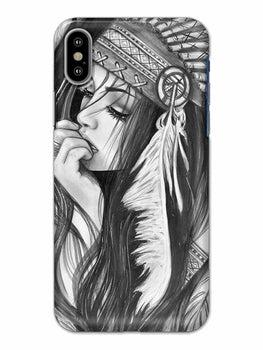 Triabal Girl Sketch iPhone X Mobile Cover Case