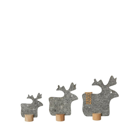 Set of three Eco-felt reindeer - grey