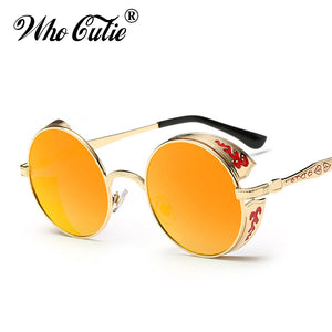 WHO CUTIE 2017 Celebrity Round Steampunk Sunglasses Men Women Metal Frame Circle Clear Lens Versae Punk Sun Glasses Shades OM351