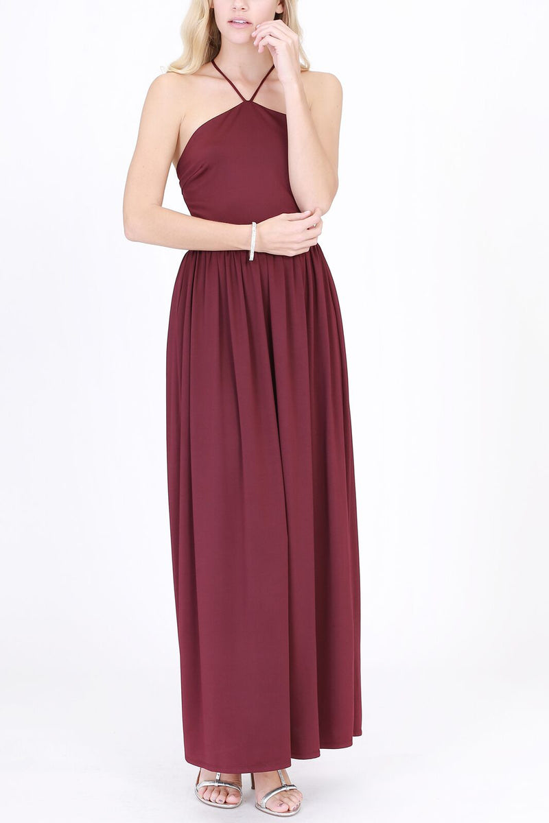 Halter Top with Spaghetti Strap Maxi Dress in Plum