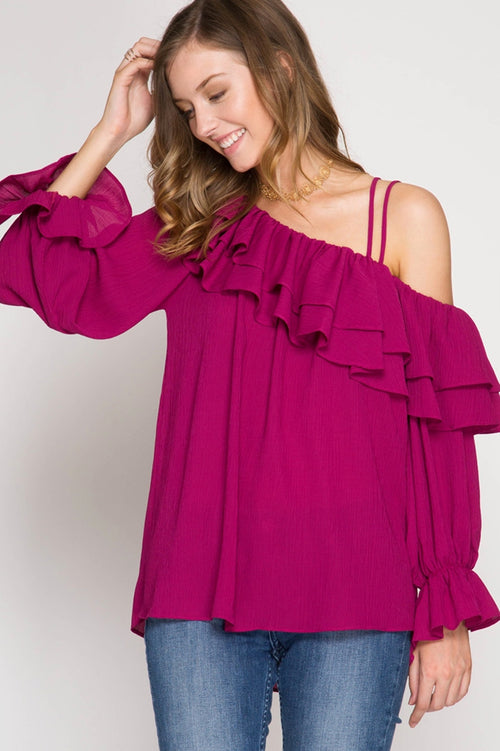 Long Sleeve One Shoulder Woven Top in Magenta