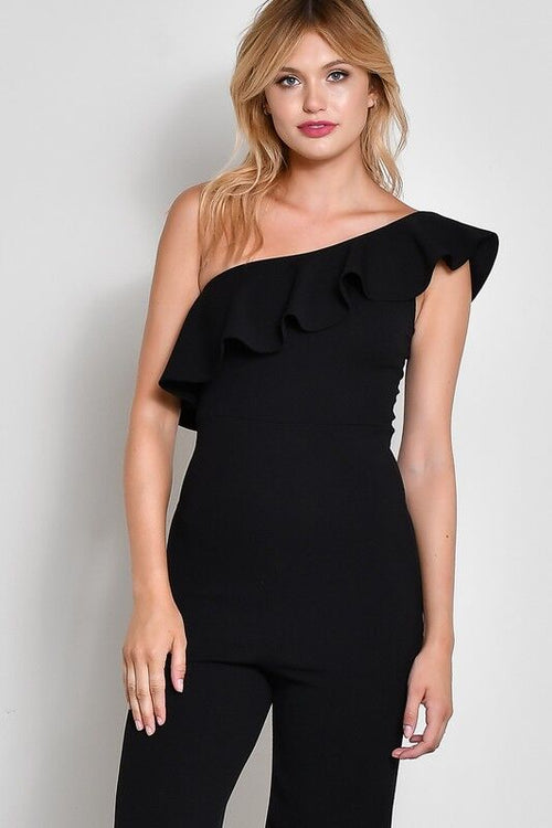 One Shoulder Ruffle Jumpsuit in Black