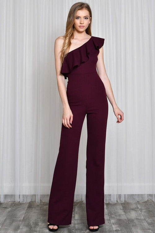 One Shoulder Ruffle Jumpsuit in Burgundy