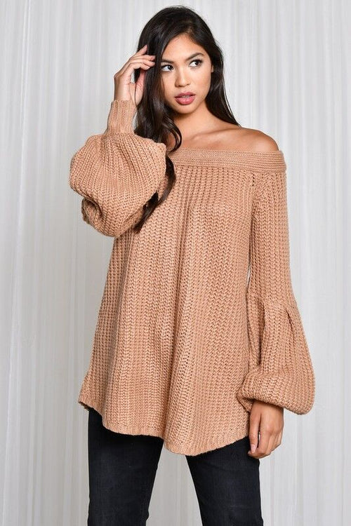 Off Shoulder Balloon Sleeve Sweater Top in Taupe