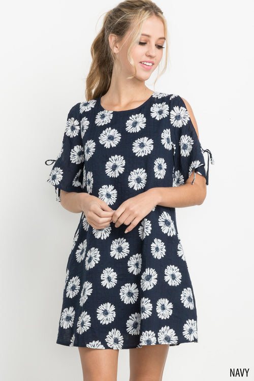 Daisy Print Open Shoulder Dress in Navy