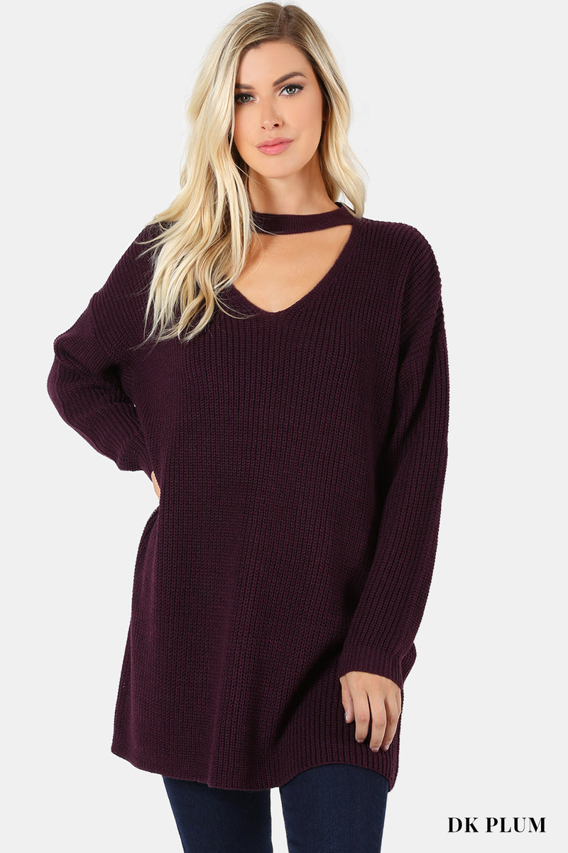 Oversized Tunic Sweater with Choker Neck in Dark Plum
