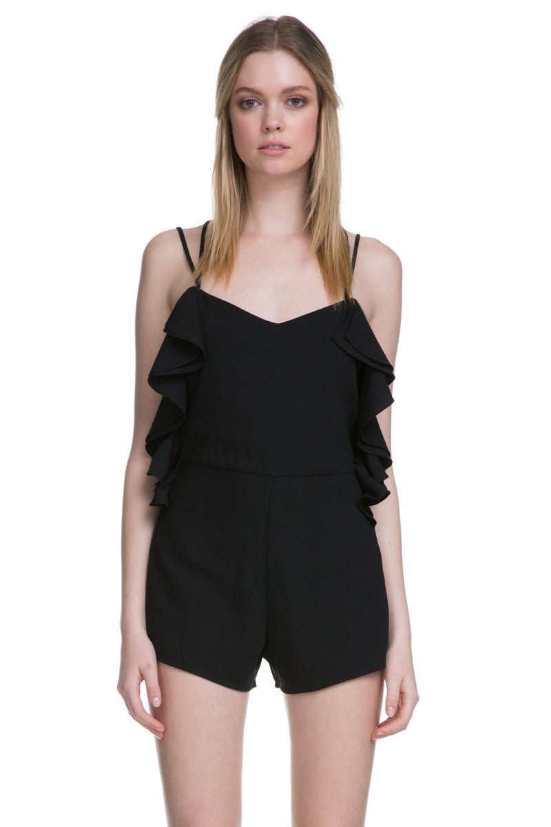 Shoulder Strap Detail with Ruffles Romper in Black