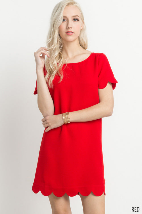 Scalloped Hem Short Sleeve Dress in Red