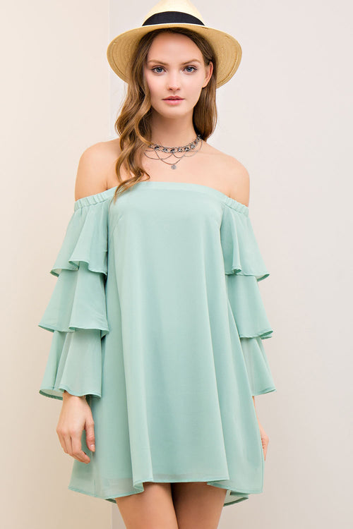Off Shoulder Tiered Ruffle Dress in Seafoam
