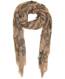 Blue Pacific Frida Cashmere and Silk Scarf with Sugar Skulls in Taupe