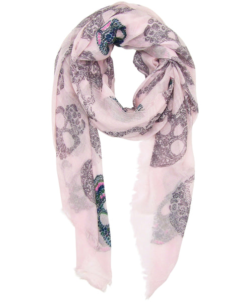 Blue Pacific Frida Cashmere and Silk Scarf with Sugar Skulls in Pink