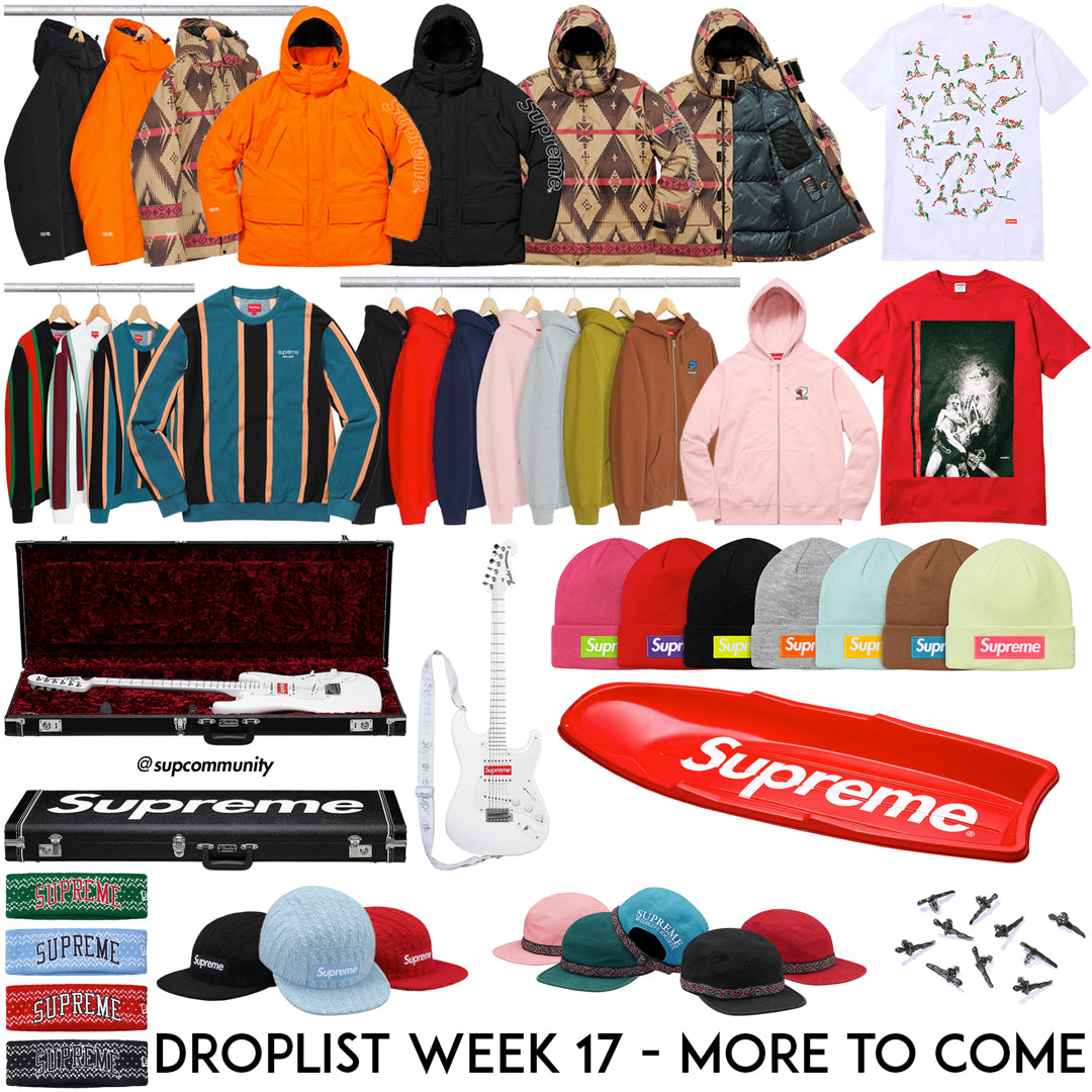Supreme Week 17 FW17 Retails & Droplist (Fender Stratocaster, Christmas Tees, and Slide)