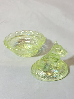 Vintage Salt Bowl, opalescent yellow glass Scotty
